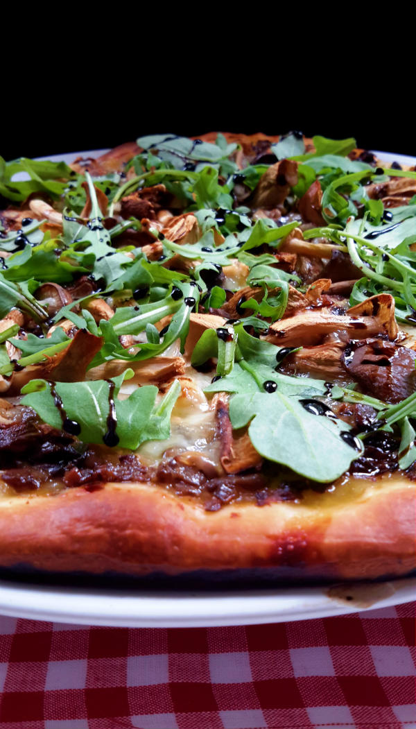 Mushroom Duxelles Pizza with Arugula and Balsamic Reduction
