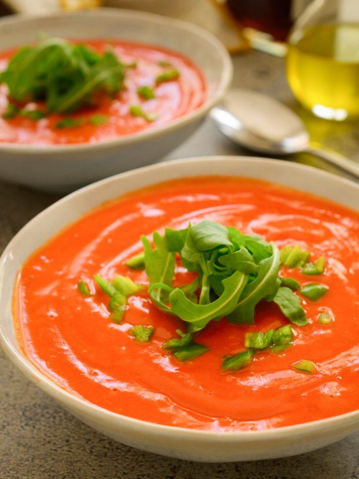 Salmorejo soup in a white bowl.