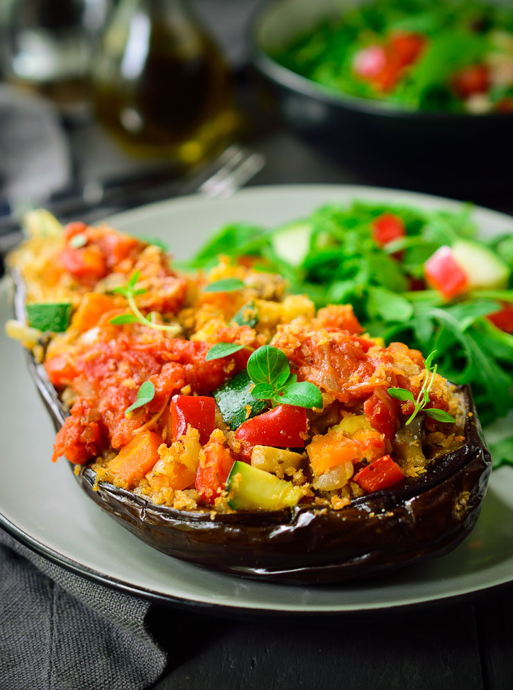 This vegan stuffed eggplant is filled with the flavours of summer and is a great main dish for a vegan or vegetarian meal.