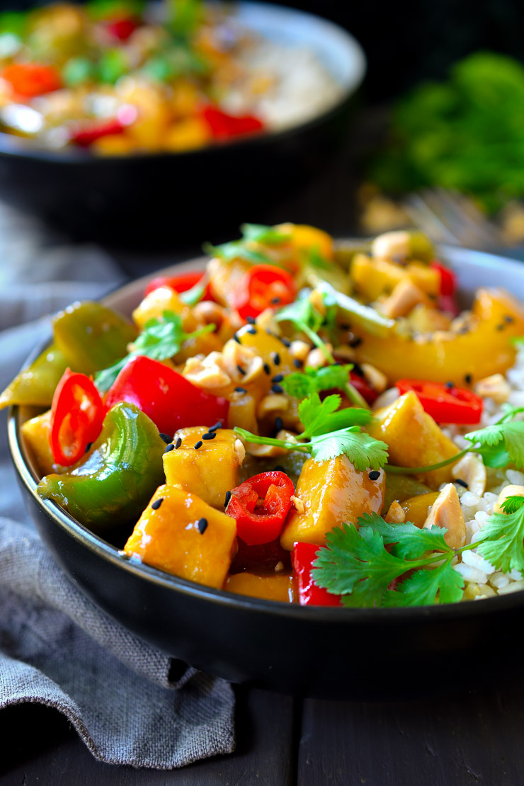 Sweet and sour tofu is an easy 30-minute vegan lunch or dinner.
