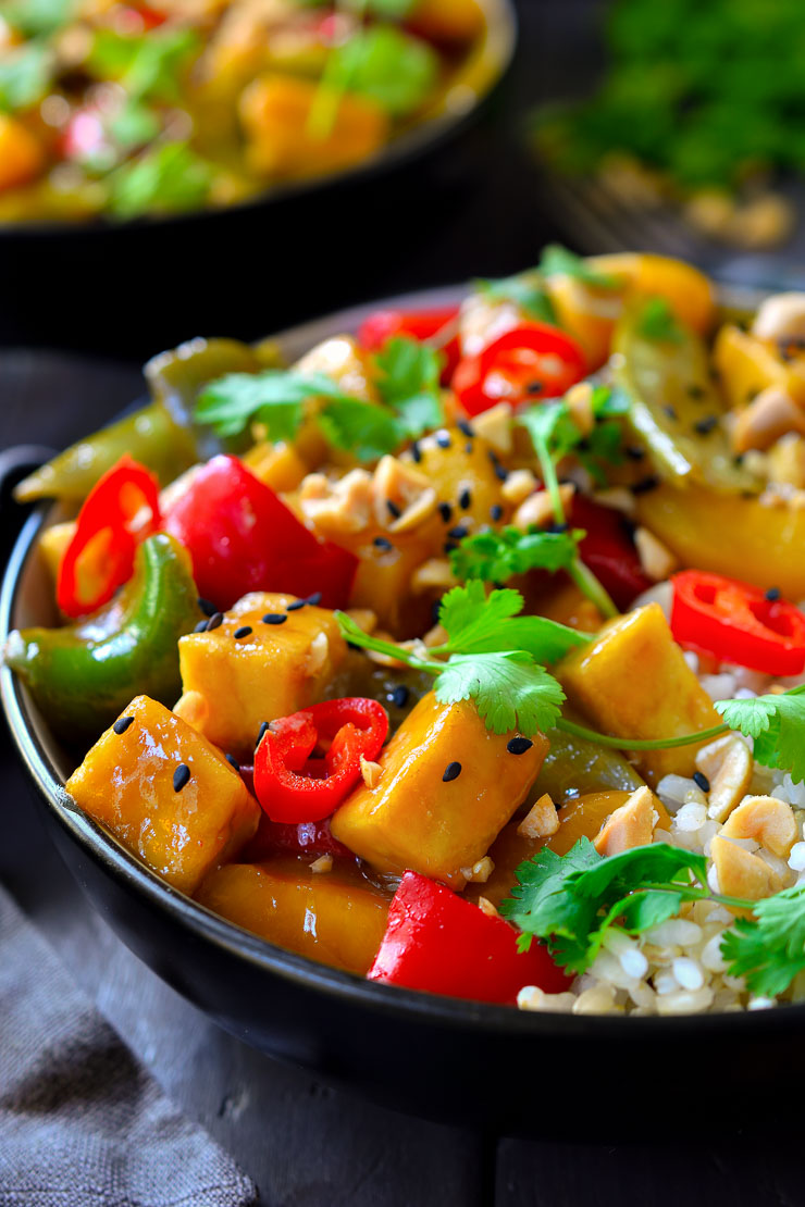 Delicious sweet and sour tofu is the perfect combination of flavour and texture. This easy vegan meal takes just 30 minutes to make!