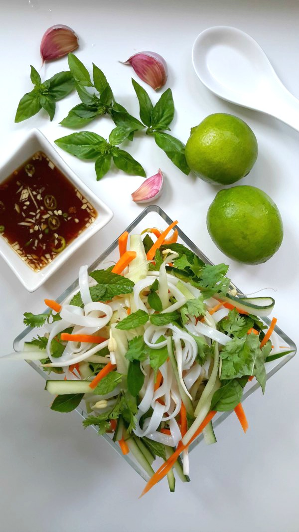 A refreshing cold rice noodle, vegetable, and herb salad. A Vietnamese dish usually made with fish sauce, here it has been veganized for those who avoid fish sauce. Find out how by visiting cilantroandcitronella.com