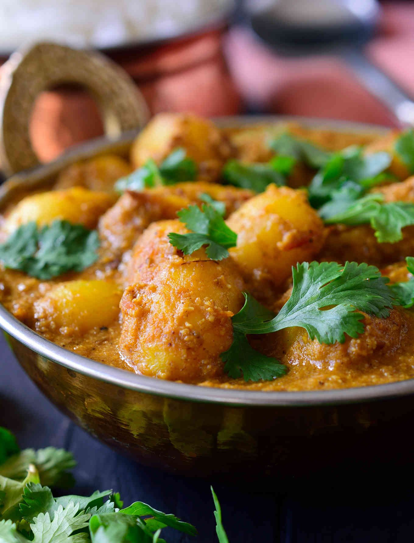 Spicy Vegan Potato Curry Dum Aloo Cilantro And Citronella