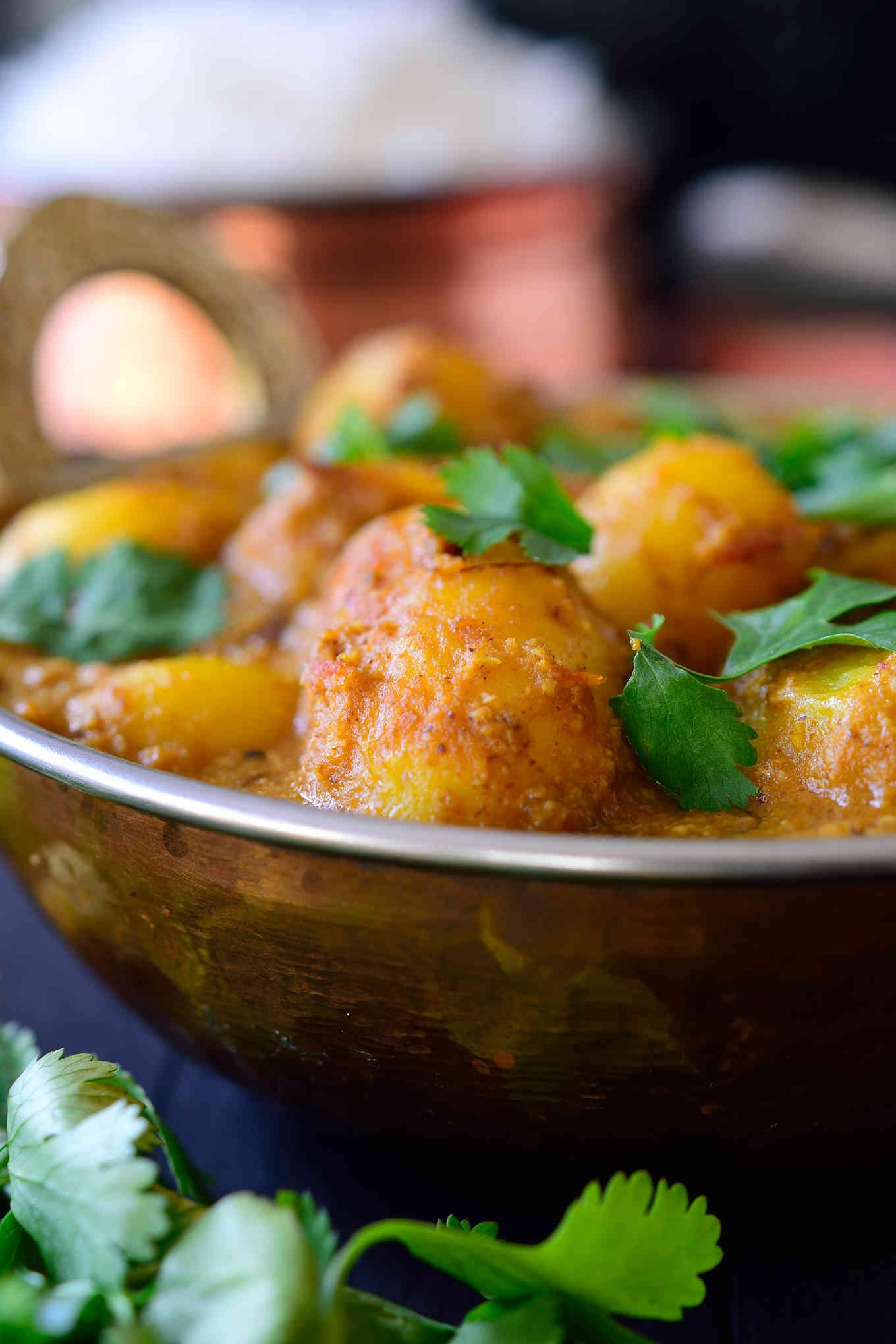 Spicy vegan potato curry dum aloo cilantro and citronella this spicy vegan potato curry is full on with flavour and easy to make with pantry forumfinder Choice Image