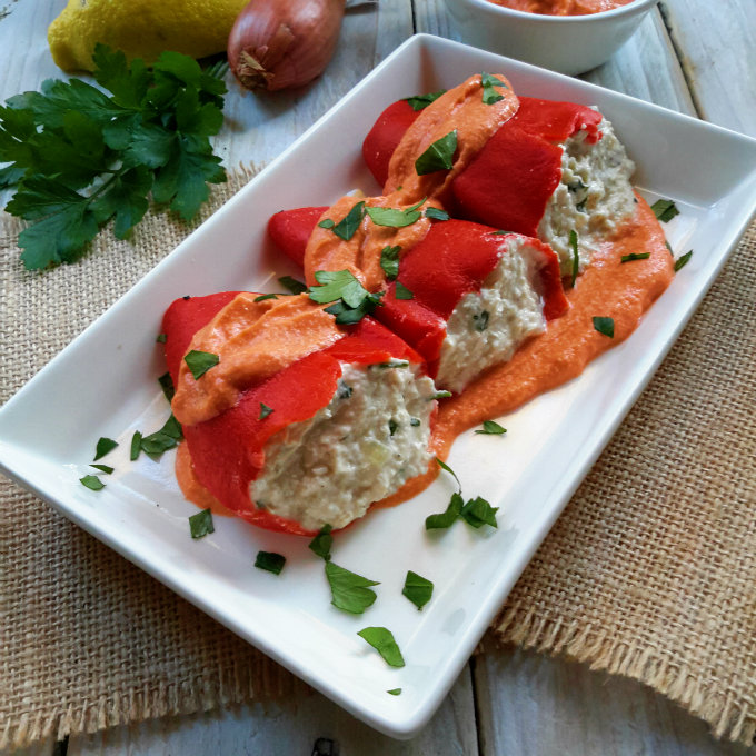 Vegan stuffed piquillo peppers - great for tapas night!