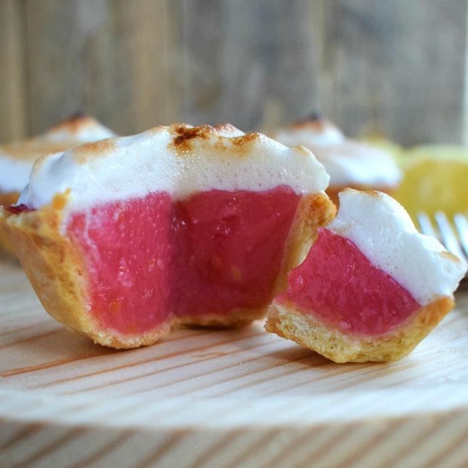 These raspberry-lemon aquafaba meringue mini pies so delicious and totally vegan thanks to the aquafaba meringue. They are the perfect serving size for when you want just a hit of sugar.