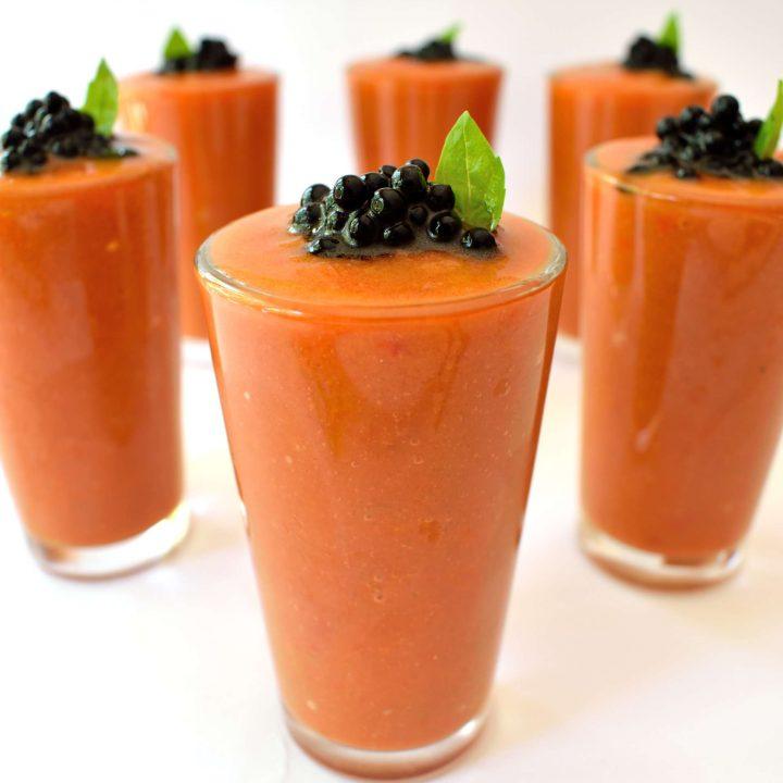 Gazpacho with Balsamic Caviar