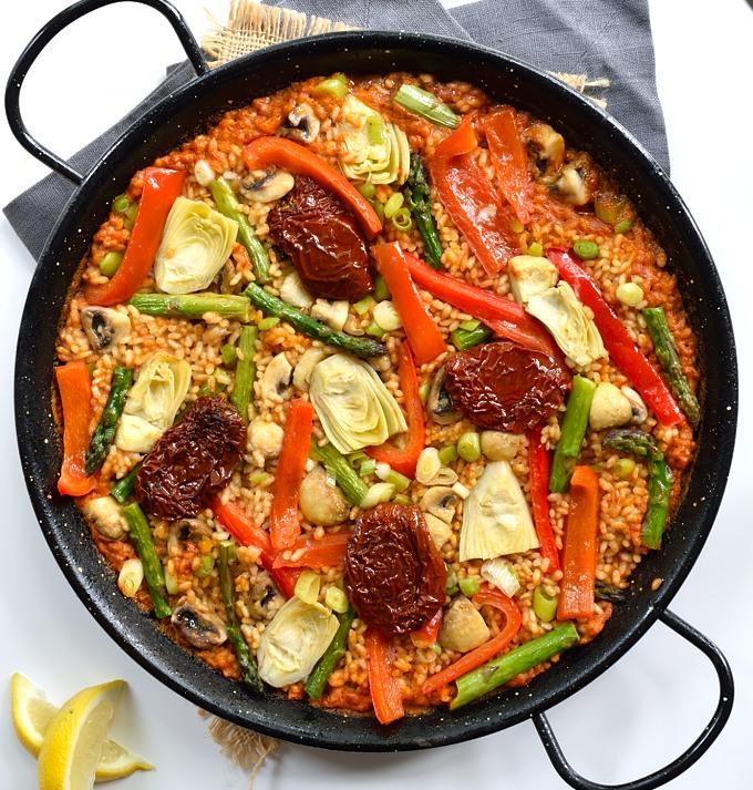 Spring Vegetable Vegan Paella | Cilantro and Citronella