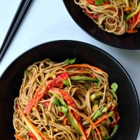 Sesame-ginger soba noodles are another great 30-minute dish. Soba is high in vitamins and minerals and combined with fresh, raw veggies and a simple sesame-ginger sauce. Totally plant-based, this dish makes a great vegetarian or vegan main.