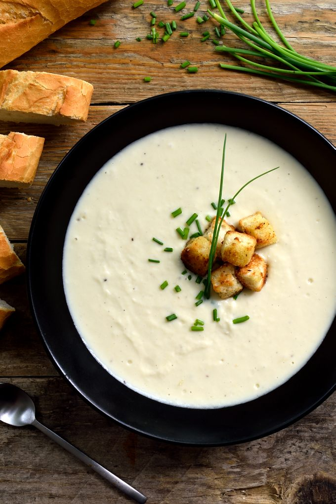 Vegan vichyssoise is a dairy-free version of this famous cold soup. It's very easy to put together and is just as creamy and delicious as the original. Makes a great vegan or vegetarian starter or main dish.