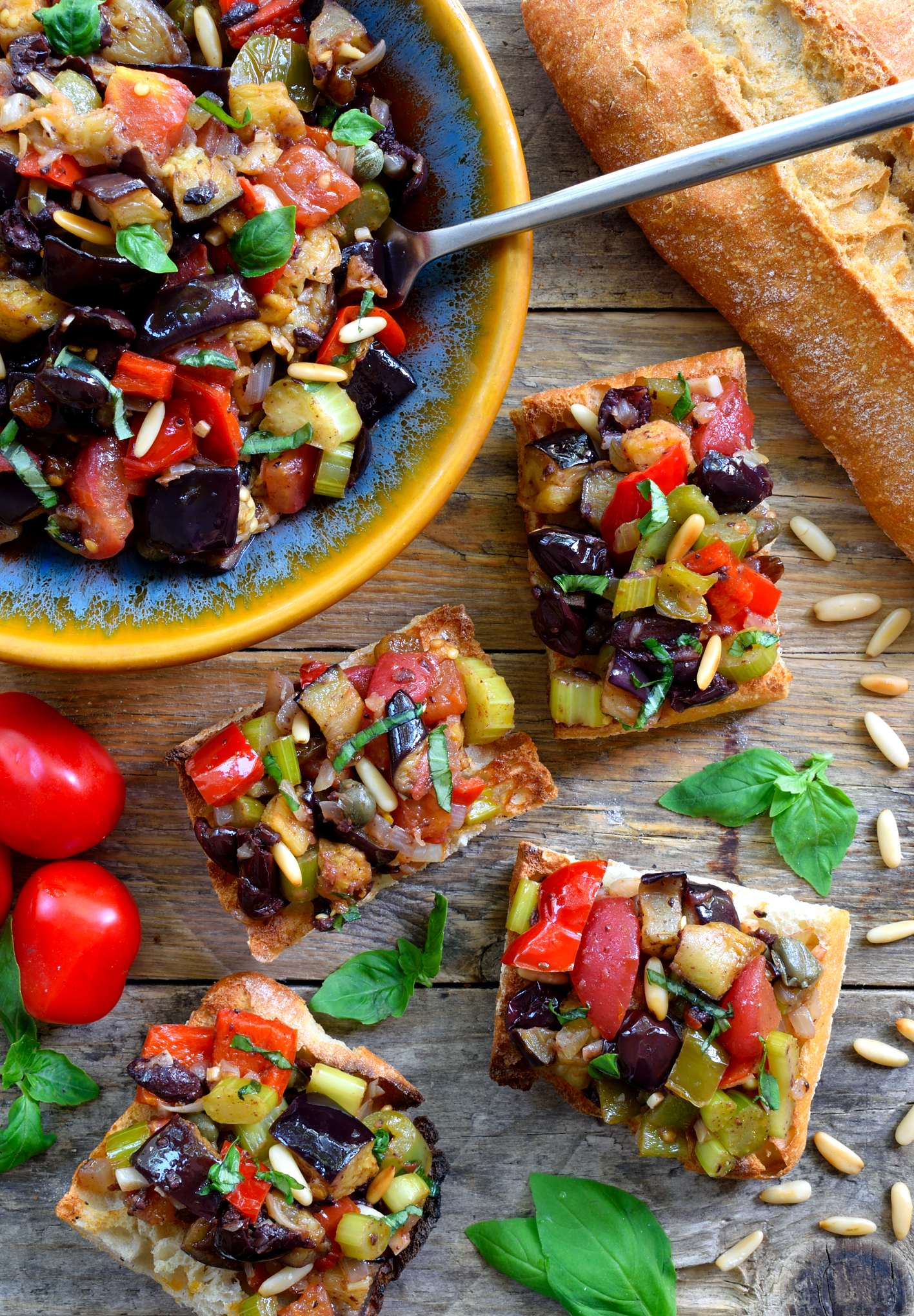 Caponata is a delicious sweet and sour eggplant antipasto that can be used in a variety of different ways. A great dish for the summer months when fresh eggplant, peppers and tomatoes are at their best, caponata is perfect to serve as a vegan appetizer, side or even main dish.