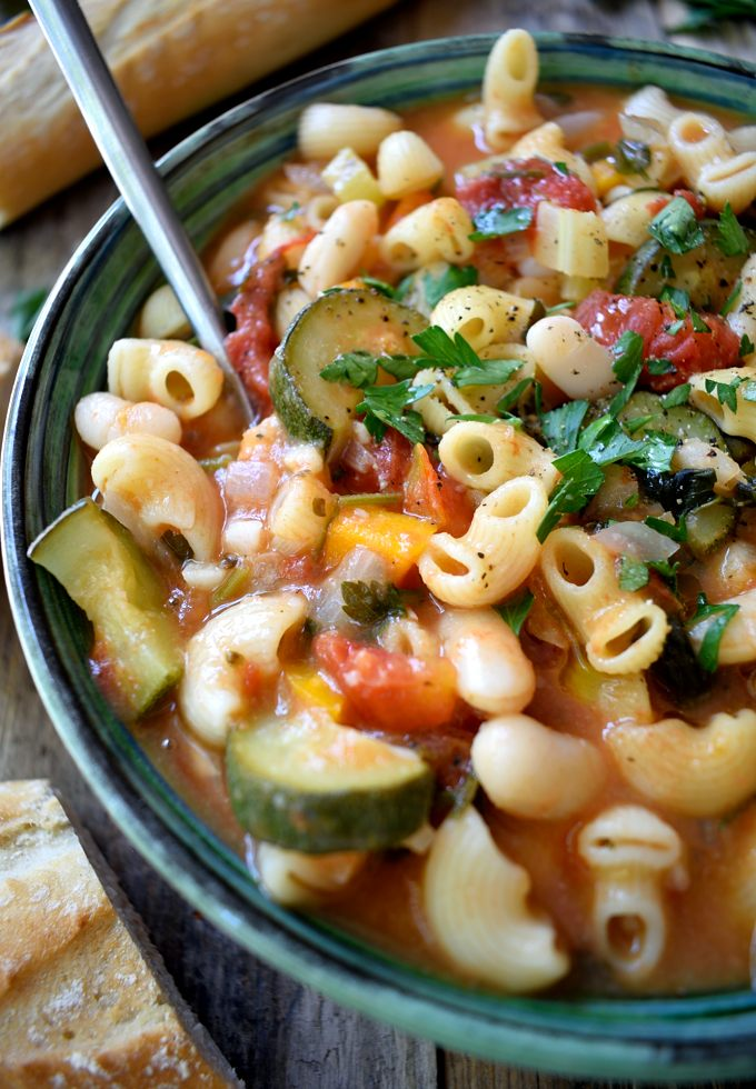 Vegetarian pasta fagioli is a simple, rustic Italian bean and pasta soup that's extremely easy to make and can be on the table in just about 30 minutes. What's fabulous about pasta e fagioli is that it's like two recipes in one – add a bit more stock for a soup and a bit less for a pasta dish! Also totally vegan!