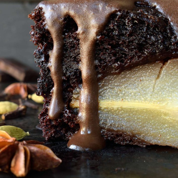 Vegan Chocolate Cake with Poached Pears