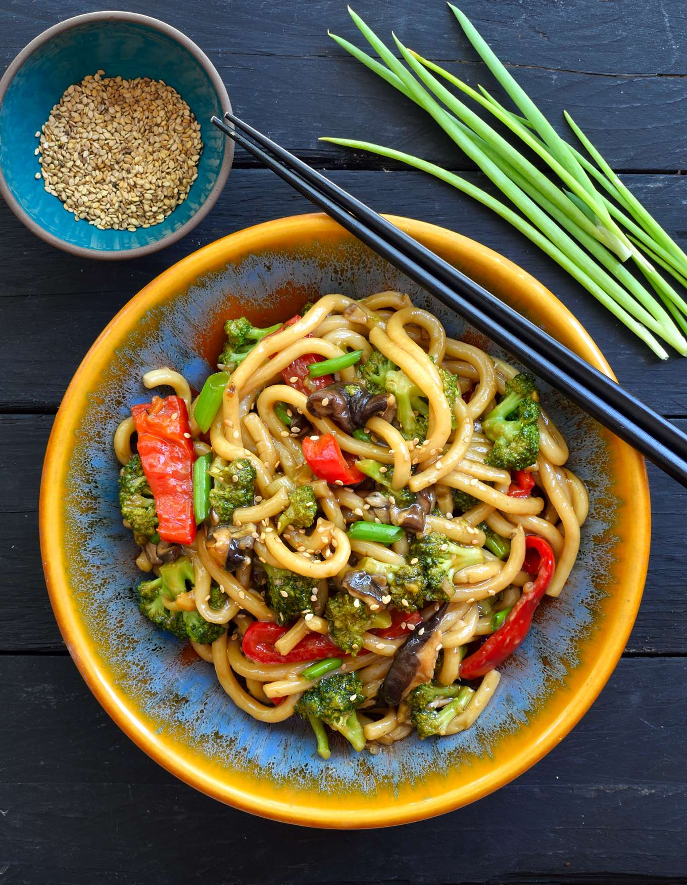 This recipe for vegetable udon stir fry is quick and easy, ready in just fifteen minutes and a great weeknight dinner idea.