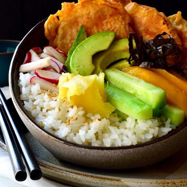 Vegan Sushi Bowls with Yam Tempura
