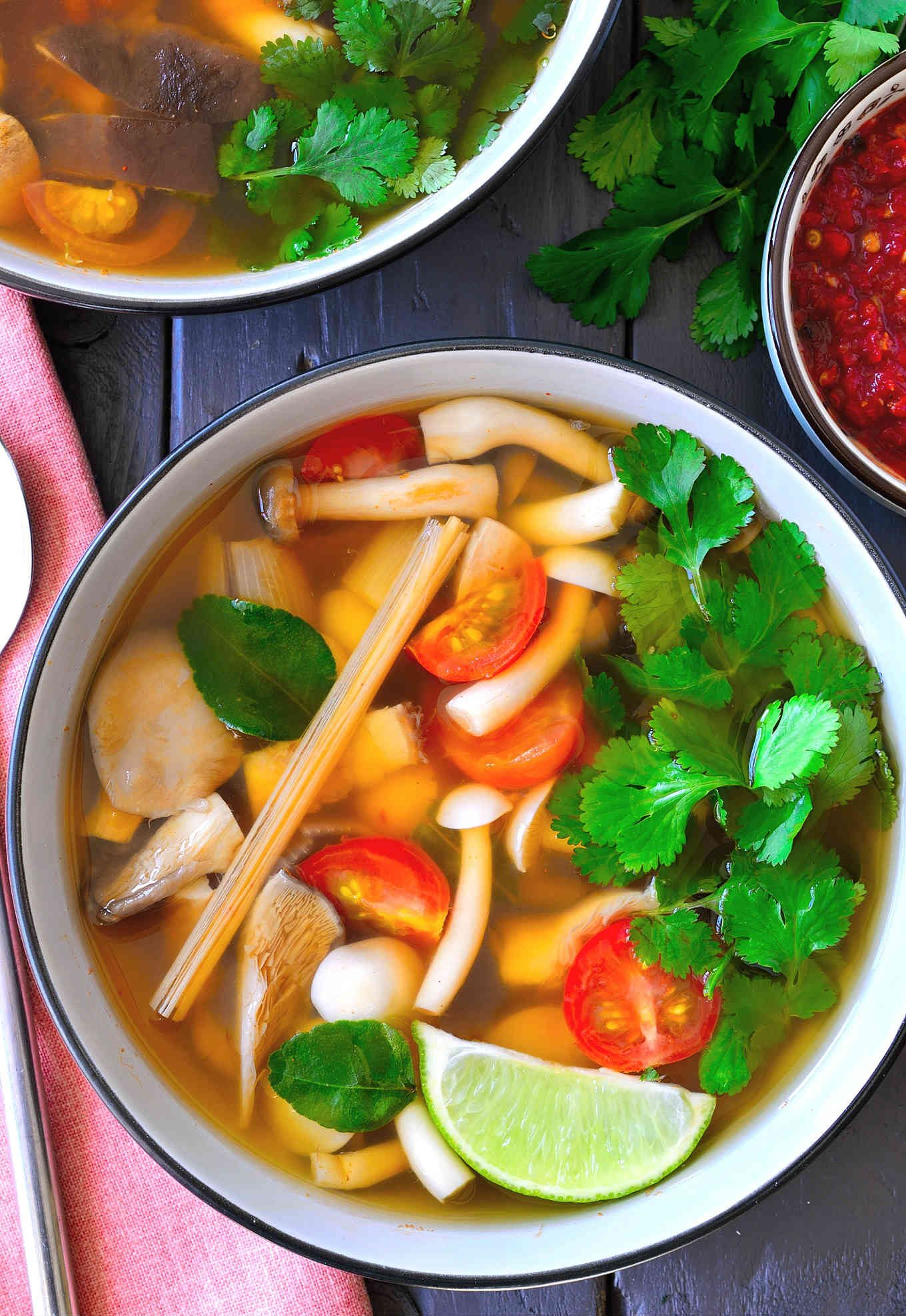 Vegetarian Tom Yum Soup Cilantro And Citronella