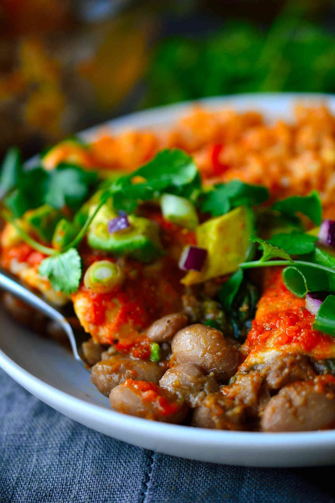 This recipe for pinto bean enchiladas is super hearty with a filling of slow-cooked smoky and spicy pinto beans and spinach, a quick and easy homemade enchilada sauce and topped with creamy avocado, sweet red onion and fresh cilantro. And in case you didn't notice, these enchiladas are totally vegan, too!