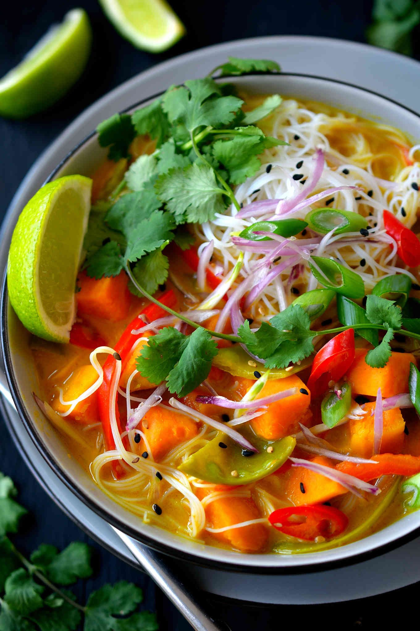 Vegetarian thai soup cilantro and citronella this vegetarian thai soup is a hearty dish brimming with vegetables rice noodles and herbs forumfinder Image collections