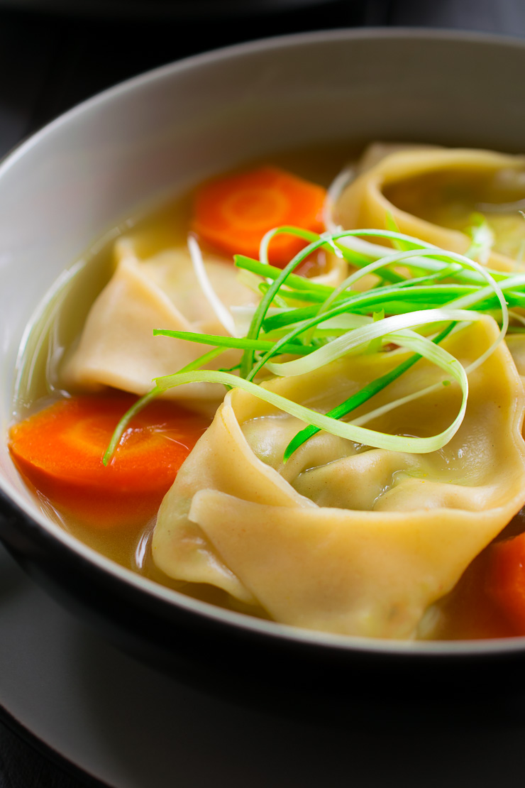 Served alone as an appetizer or along with rice for a hearty lunch or dinner, this vegan wonton soup is all you need to warm you up on a chilly day!