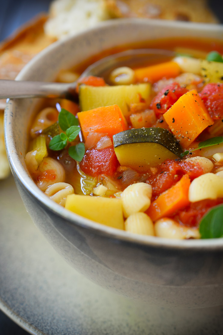 Vegan minestrone soup is an easy and quick recipe for a hearty, flavourful and healthy meal!