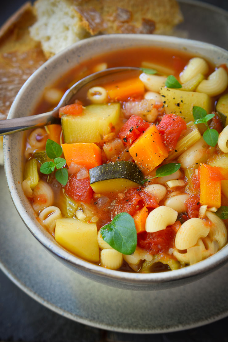 This vegan minestrone soup is easy, quick and hearty. Can be made year round with whatever veggies are in season.