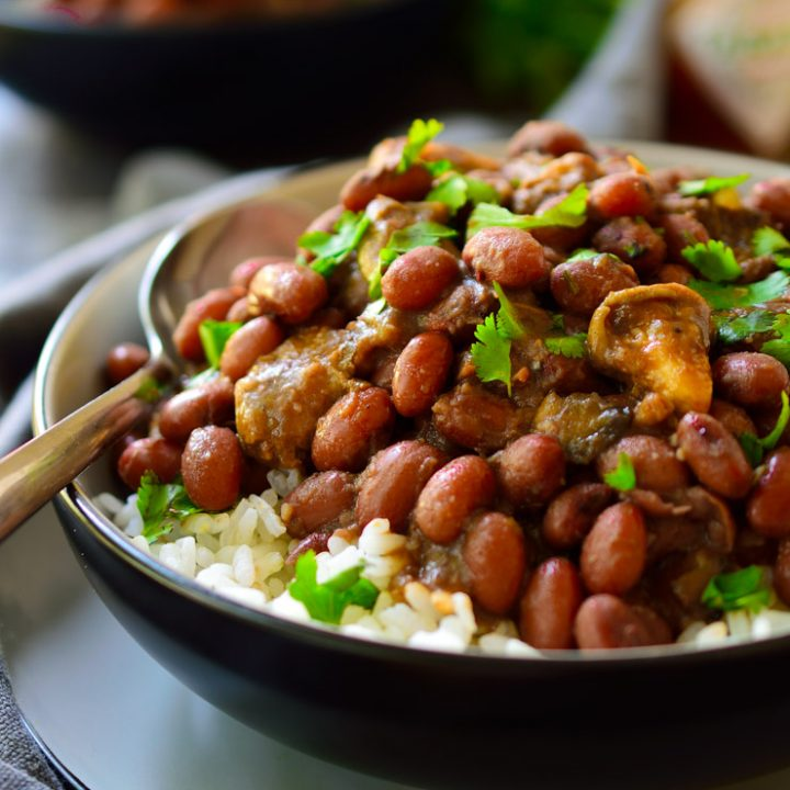 Vegan Red Beans and Rice with Smoky Mushrooms