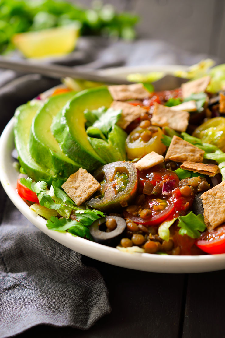 This vegan taco salad with lentils recipe is a quick and delicious 30-minute recipe. No added oil for a super healthy and satisfying meal.