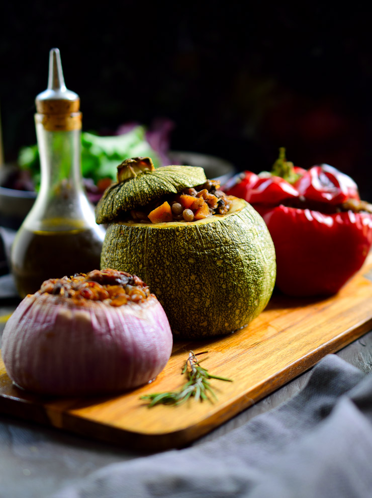 This recipe for vegan petits farcis, or small stuffed vegetables, is wonderful as an appetizer or a vegetarian main dish served alongside a salad, soup or crusty bread. Although you can make this recipe with any small stuffing vegetables, the stuffed round zucchini are definitely a highlight.