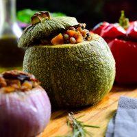Stuffed Round Zucchini (Vegan Petits Farcis)