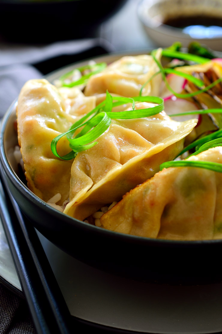 These vegetarian potstickers are filled with smoky tofu and veggies and delicious served as an appetizer or main dish.