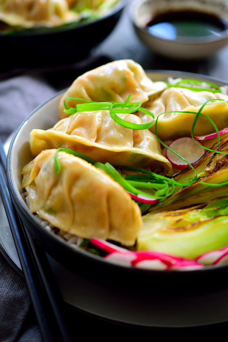 These vegetarian potstickers are stuffed with veggies and crumbled tofu that's been pan-fried in a sweet, savoury and smoky sauce. These tasty dumplings make a great appetizer or a main dish when served over rice with seared bok choy.