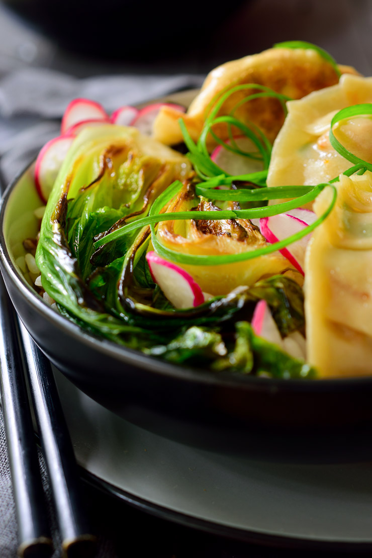 Vegetarian potsticker bowls with mixed rice and seared bok choy. An appetizer transformed into a main dish!