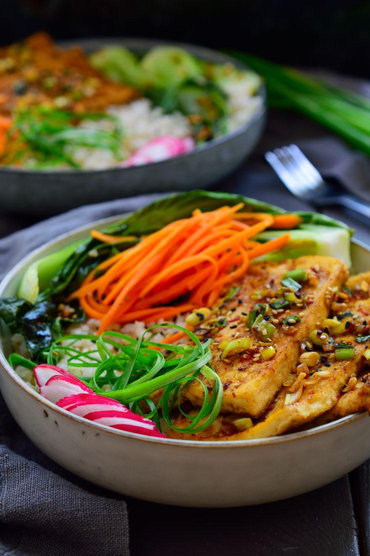 Vegan Korean Tofu Bowls Cilantro And Citronella