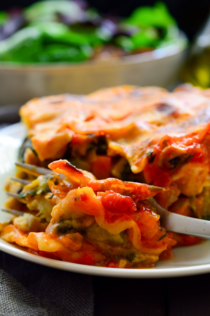 Tofu-free creamy, cheesy vegan lasagna packed with veggies and delicious!