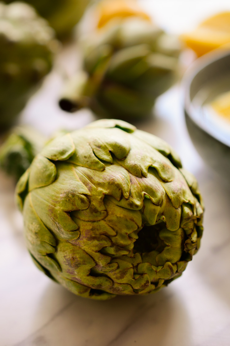 A whole artichoke on the counter before prep.