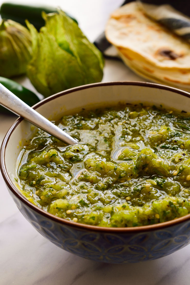 A bowl of fresh homemade salsa verde.