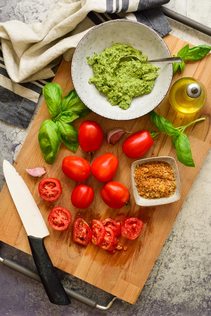 Ingredients for vegan tomato pesto tart.