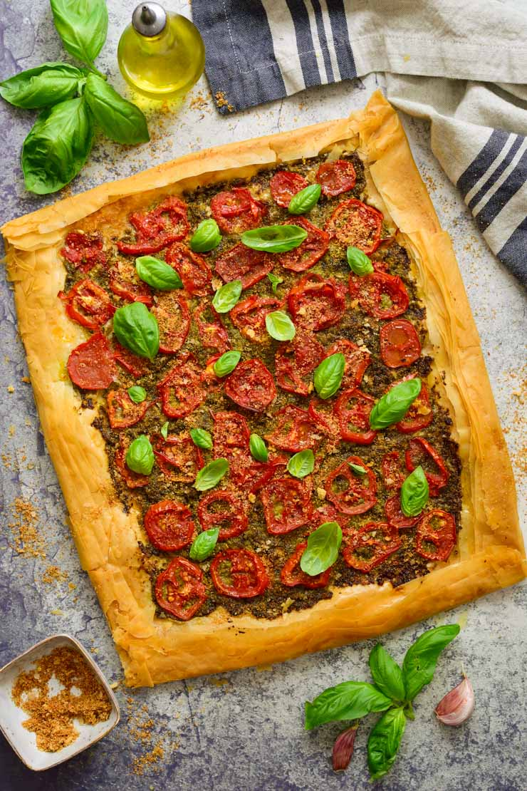 Vegan tomato pesto tart straight out of the oven.
