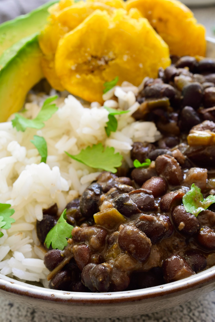 Cuban black beans and rice in a bowl with tostones, avocado and cilantro.