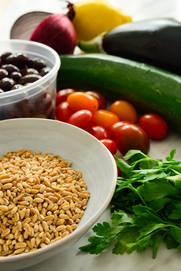 All the ingredients for this farro salad on the counter.