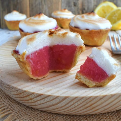 Raspberry-Lemon Aquafaba Meringue Mini Pies