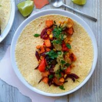 Roasted Vegetable Tacos with Smoky Avocado Cream