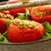 Vegan Stuffed Tomatoes with Pesto Orzo