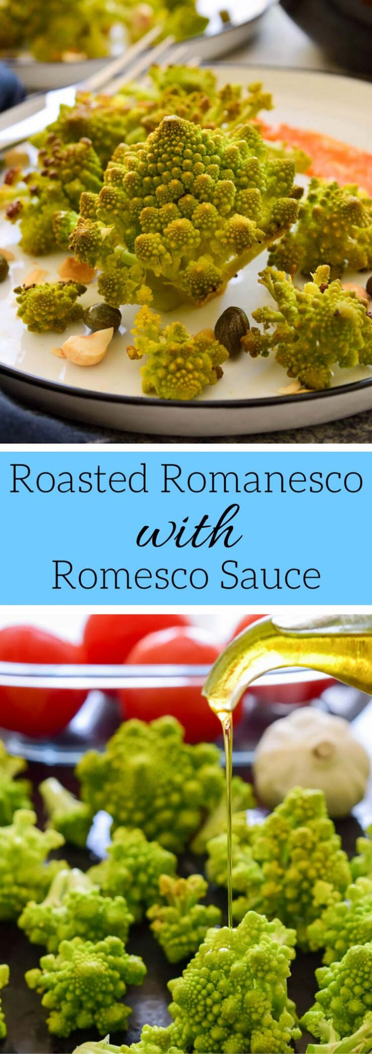 Italian romanesco cauliflower combines with Spanish romesco sauce in this simple roasted romanesco recipe that lets the flavour of simple, fresh Mediterranean ingredients shine through.