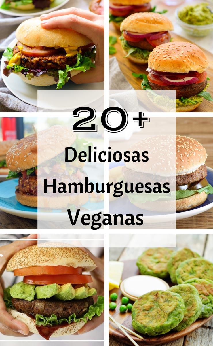 Collage de 6 imágenes de hamburguesas veganas.