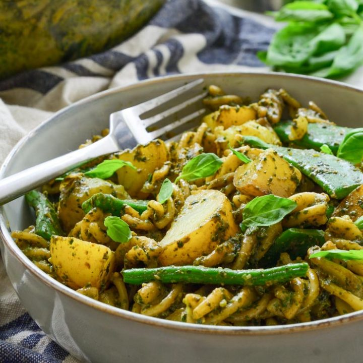 Potato and Green Bean Pesto Pasta