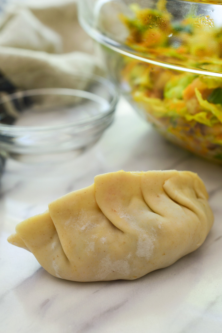 A filled and closed potsticker on the counter.