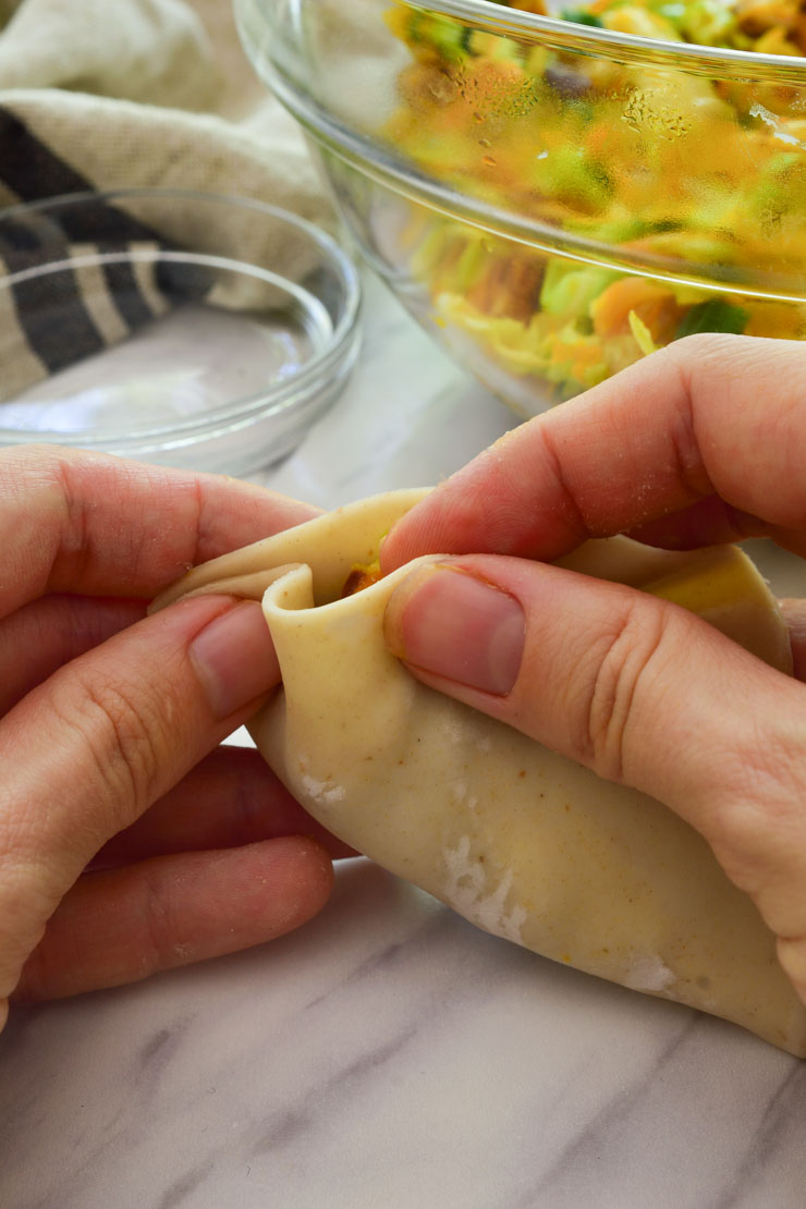 A close-up shot of two hands closing the filled potsticker.