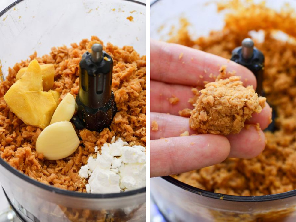 A collage showing the tvp with ginger and garlic in the food processor. A hand showing a ball of the filling.