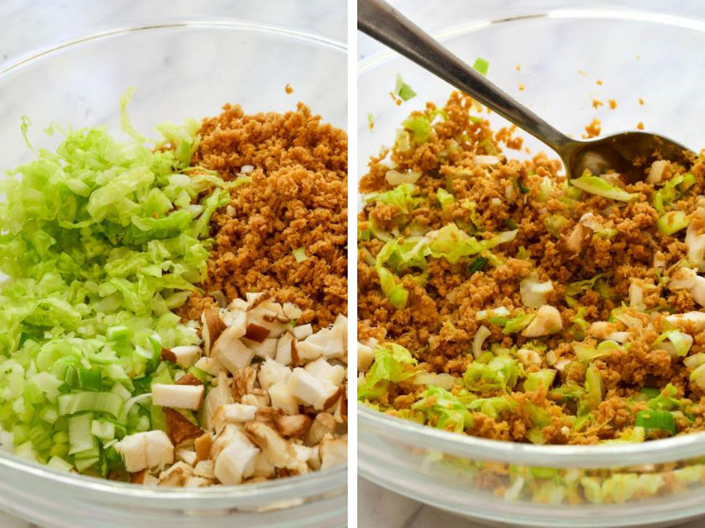 A collage showing all the vegan dumpling filling ingredients in a glass bowl before and after mixing.